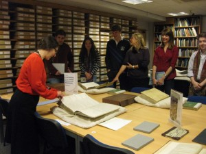 Students in research room