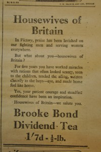 An advert for Brooke Bond Tea from May 1945