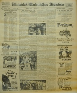 Front page of the Warwick Advertiser from May 18th 1945