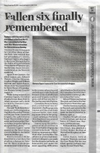 Courier Article on Fallen remembered