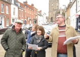 Christine (centre) in Church Street with colleagues from Unlocking Warwick